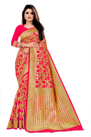 Reddish Pink Color Banarasi Cotton Women's Saree - RJSMWBTBGJR