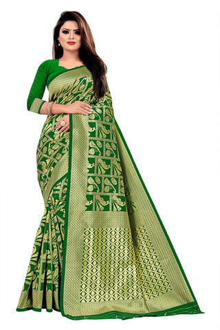 Green Color Banarasi Cotton Women's Saree - RJSMWBTBGRN