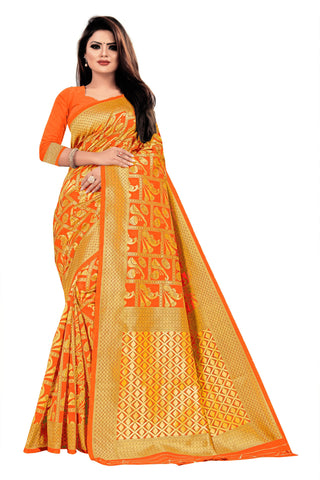 Orange Color Banarasi Cotton Women's Saree - RJSMWBTBORG