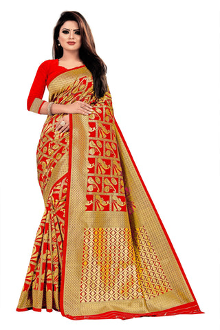 Red Color Banarasi Cotton Women's Saree - RJSMWBTBRED