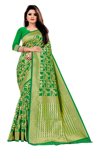 Rama Green Color Banarasi Cotton Women's Saree - RJSMWBTBRMA