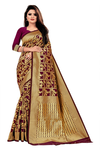 Wine Color Banarasi Cotton Women's Saree - RJSMWBTBWIN