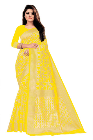 Yellow Color Banarasi Cotton Women's Saree - RJSMWBTBYLW