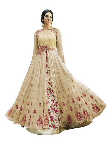 Cream Color Georgette Women's Semi Stitched Gown - RKC-Antic_Cream