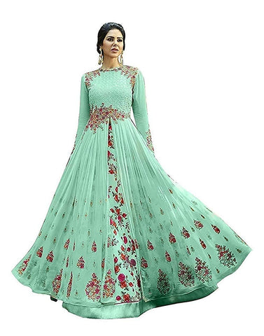 Green Color Georgette Women's Semi Stitched Gown - RKC-Antic_green