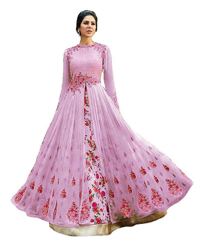 Pink Color Georgette Women's Semi Stitched Gown - RKC-Antic_pink