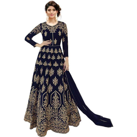 Blue Color Georgette Women's Semi Stitched Gown - RKC-BlueBoxgown