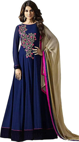 Blue Color Georgette Women's Semi Stitched Gown - RKC-Blue_pink_gown