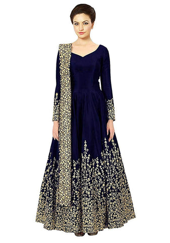 Blue Color Georgette Women's Semi Stitched Gown - RKC-Bluejalpari