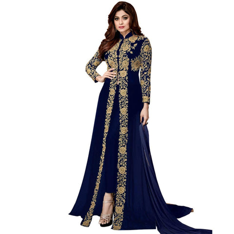 Blue Color Georgette Women's Semi Stitched Gown - RKC-Bluepattigown