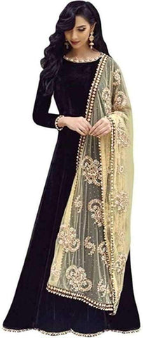 Black  Color Georgette Women's Semi Stitched Gown - RKC-BuddyBlack