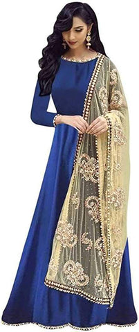 Blue Color Georgette Women's Semi Stitched Gown - RKC-BuddyBlue