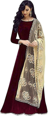 Maroon Color Georgette Women's Semi Stitched Gown - RKC-Buddymaroon