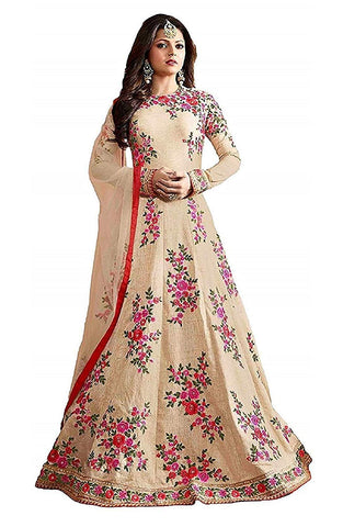 Cream Color Georgette Women's Semi Stitched Gown - RKC-CherryblosamGown