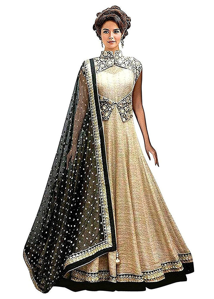 Buy Cream Color Georgette Women's Semi Stitched Gown
