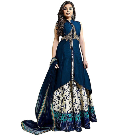 Blue Color Art Silk Women's Semi Stitched Gown - RKC-ChmeliBlue