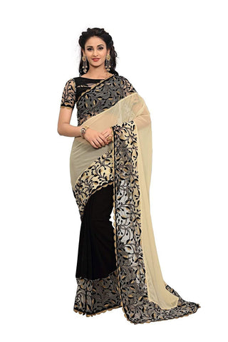 Cream and Black Color Georgette Women's Saree - RKC-CreamBlack