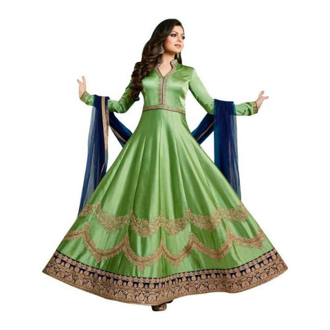 Green Color Art Silk Women's Semi Stitched Gown - RKC-Dhamigreen