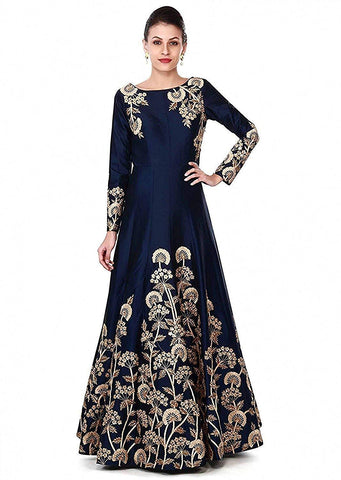 Blue Color Georgette Women's Semi Stitched Gown - RKC-Dhturoblue