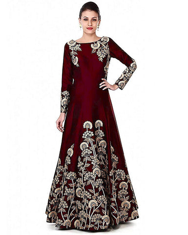 Maroon Color Georgette Women's Semi Stitched Gown - RKC-Dhturomaroon