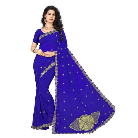 Blue Color Georgette Women's Saree - RKC-FanBlue