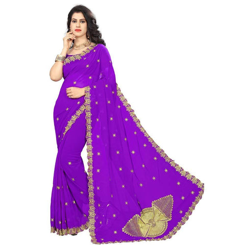 Purple Color Georgette Women's Saree - RKC-FanPurple