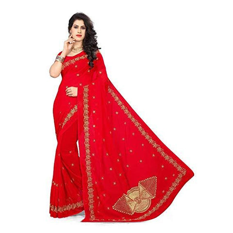Red Color Georgette Women's Saree - RKC-FanRed