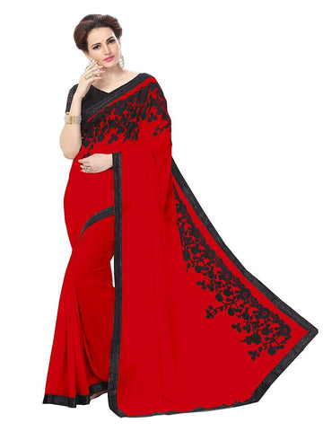 Red Color Georgette Women's Saree - RKC-JiniRed