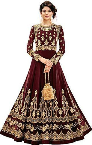 Maroon Color Georgette Women's Semi Stitched Gown - RKC-Kajukatrimaroon
