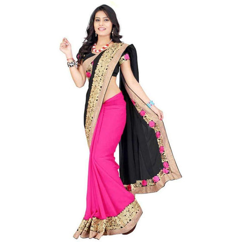 Black and Pink Color Georgette Women's Saree - RKC-KukiBlack