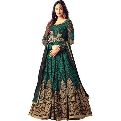 Green Color Georgette Women's Semi Stitched Gown - RKC-Kutumbinargreen