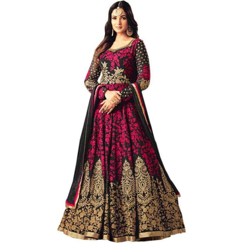 Pink Color Georgette Women's Semi Stitched Gown - RKC-Kutumbinarpink