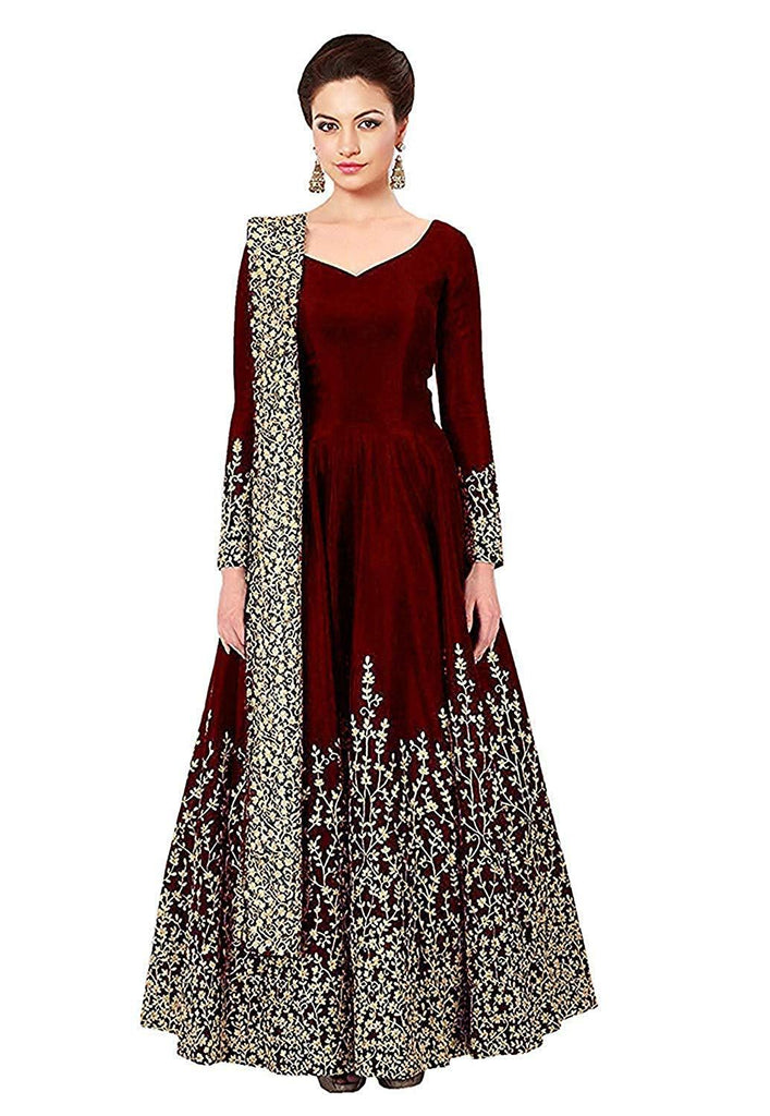 Buy Maroon Color Georgette Women's Semi Stitched Gown