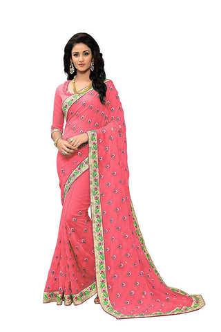Pink Color Georgette Women's Saree - RKC-PinkButti
