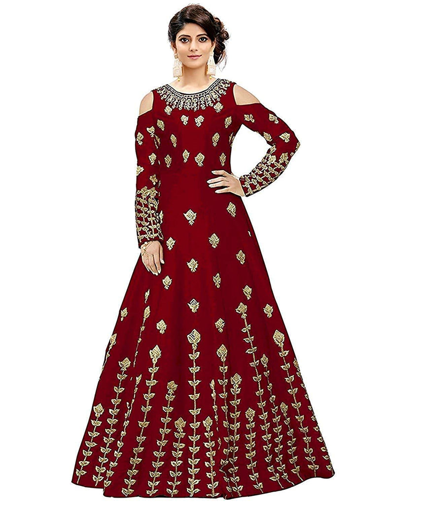 Buy Red Color Georgette Women's Semi Stitched Gown