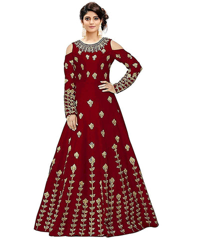 Red Color Georgette Women's Semi Stitched Gown - RKC-RedPattigown