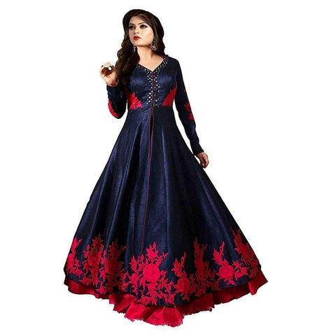 Blue Color Georgette Women's Semi Stitched Gown - RKC-Redrose_gown