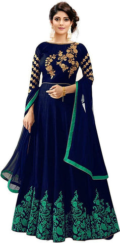 Green Color Georgette Women's Semi Stitched Gown - RKC-S_B_Green