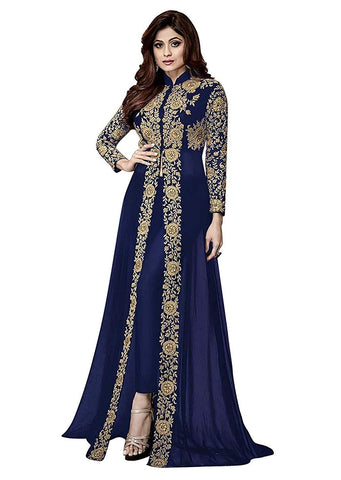 Blue Color Georgette Women's Semi Stitched Gown - RKC-Shamitablue
