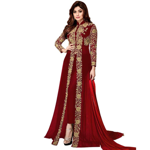 Maroon Color Georgette Women's Semi Stitched Gown - RKC-Shamitamaroon