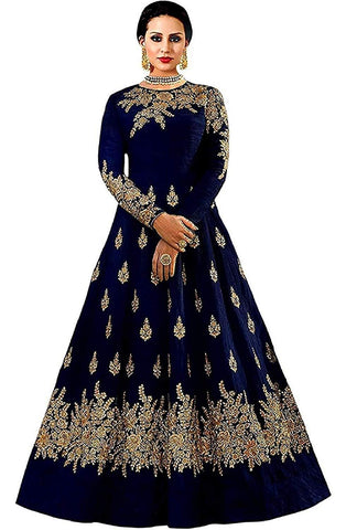 Blue Color Georgette Women's Semi Stitched Gown - RKC-Westcostblue