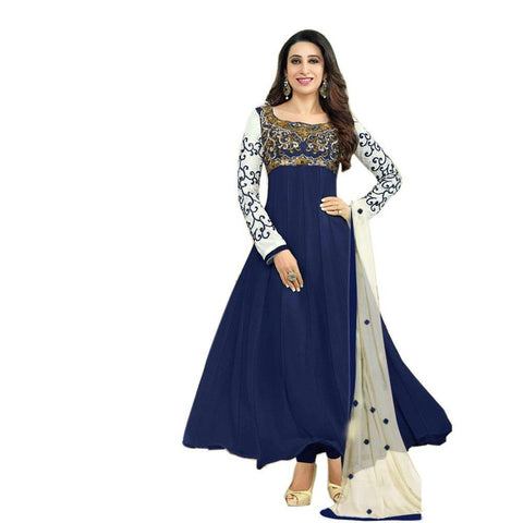 Blue Color Georgette Women's Semi Stitched Gown - RKC-karishmagown
