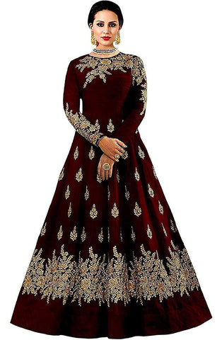 Maroon Color Georgette Women's Semi Stitched Gown - RKC-westcostmaroon