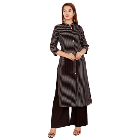 Black Color Rayon Women's Kurta and Palazzo Set - RM1