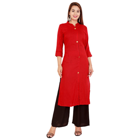 Red Color Rayon Women's Kurta and Palazzo Set - RM2