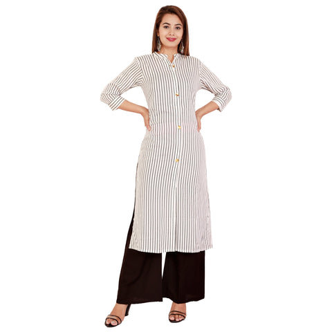 White Color Rayon Women's Kurta and Palazzo Set - RM3