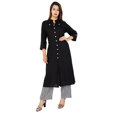 Black Color Rayon Women's Kurta and Palazzo Set - RM4