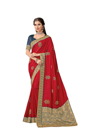 Red Color Poly Silk Women's Saree - RM62001