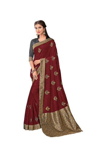 Maroon Color Poly Silk Women's Saree - RM62009