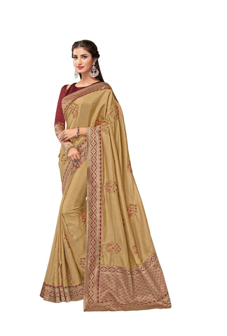 Beige Color Poly Silk Women's Saree - RM62010